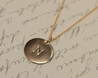 Gold Pendant Initial Necklace, Personalized Handmade Jewelry
