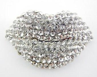 Rhinestone Encrusted Silver-tone Lips Pendant