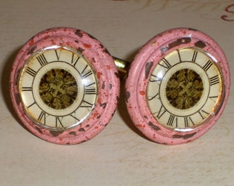 Shabby Cottage Chic Pink Clock Distressed Painted Brass Glass Drawer Knob Pull Knobs Set of 2