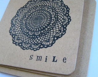 Smile Doily Coasters, 4pk Gift Set / Drink Coaster