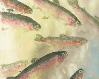 Under the Rainbow-gyotaku limited edition-rainbow trout