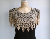 vintage 1980s cocktail dress. Large. Ecru lace cape over black sheath. Maxi. Fall colors  / the CINNAMON SCHNAPPS dress