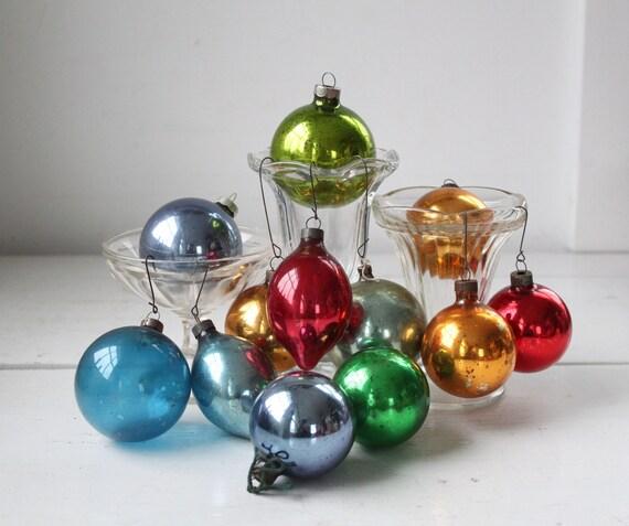 Sale / Vintage Christmas Ornaments. Box Of 12 Mercury Glass