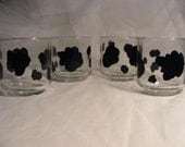 painted glasses with cow print for cocktails or juice - set of 4 READY TO SHIP
