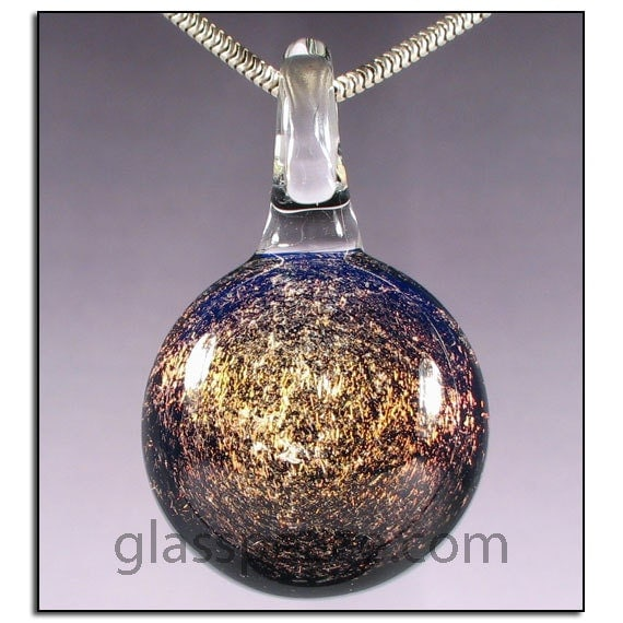 SALE - Sparkling Dichroic Glass Galaxy Pendant - Boro Lampwork Necklace Focal - Hand Blown Glass Jewelry (4127)
