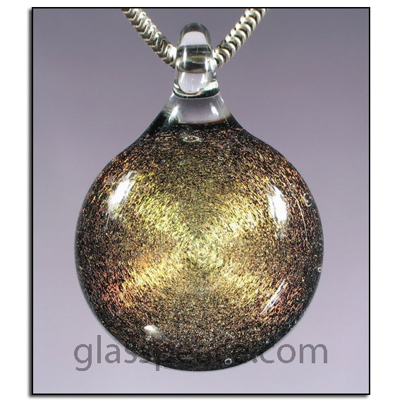 SALE - Golden Galaxy Pendant - Boro Lampwork Dichroic Glass Necklace Focal - Hand Blown Glass Jewelry (3283)