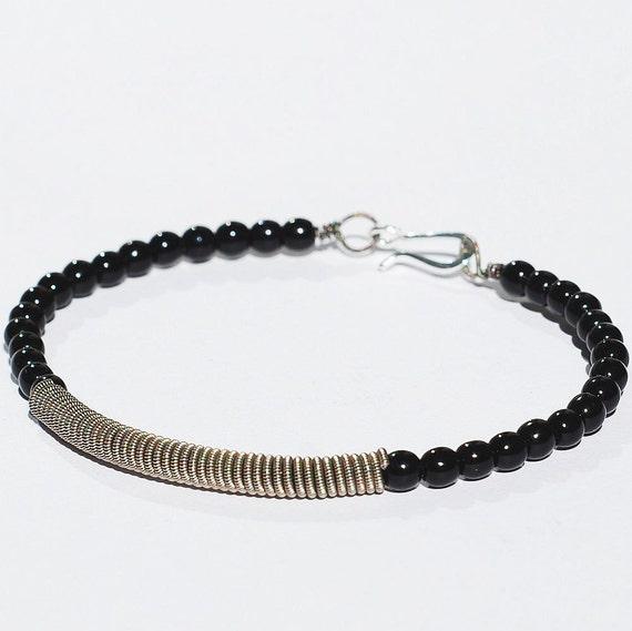 guitar string bracelet upcycled silver and black beaded. Black Bedroom Furniture Sets. Home Design Ideas