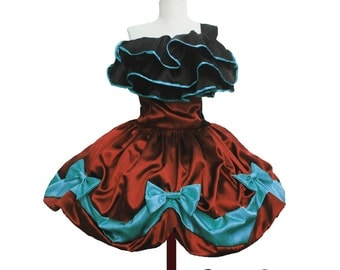 Luscious Eva Tea Bow Dress Evening Gown with Ruffled Details Custom in your Size