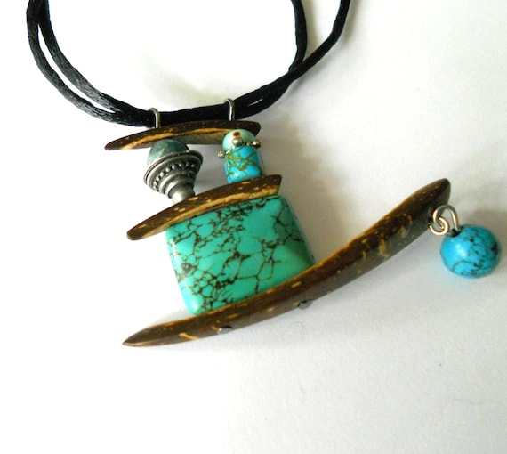 SALE - Turquoise abstract necklace, Coco and turquoise hippie pendant necklace, funky jewelry