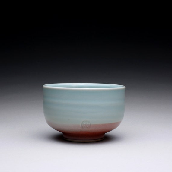 porcelain bowl - teabowl - chawan with turquoise celadon and bright red glazes