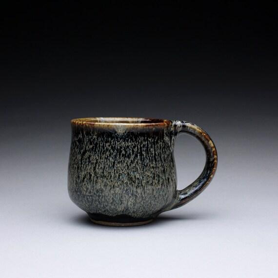 RESERVED teacup - coffee mug with black tenmoku and ash glazes