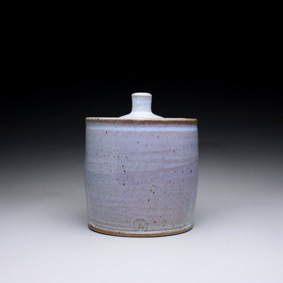 RESERVED handmade cookie jar, lidded jar, canister with white wood ash glaze and orange shino