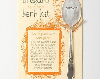 Oregano plantable paper herb kit with silverware garden marker (W0322)