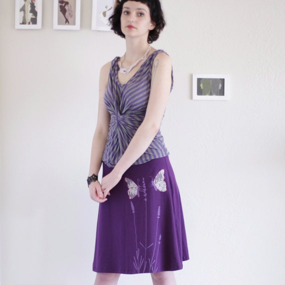 Unique Gift for Women . Cotton A line Knee Length Purple Skirt with Lace Applique, Pull on cotton Midi skirt - Butterfly's office affair
