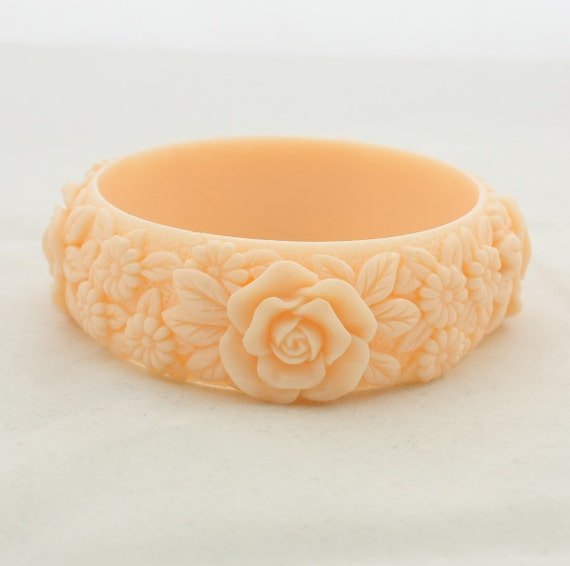 vintage carved celluloid plastic bangle floral bracelet by