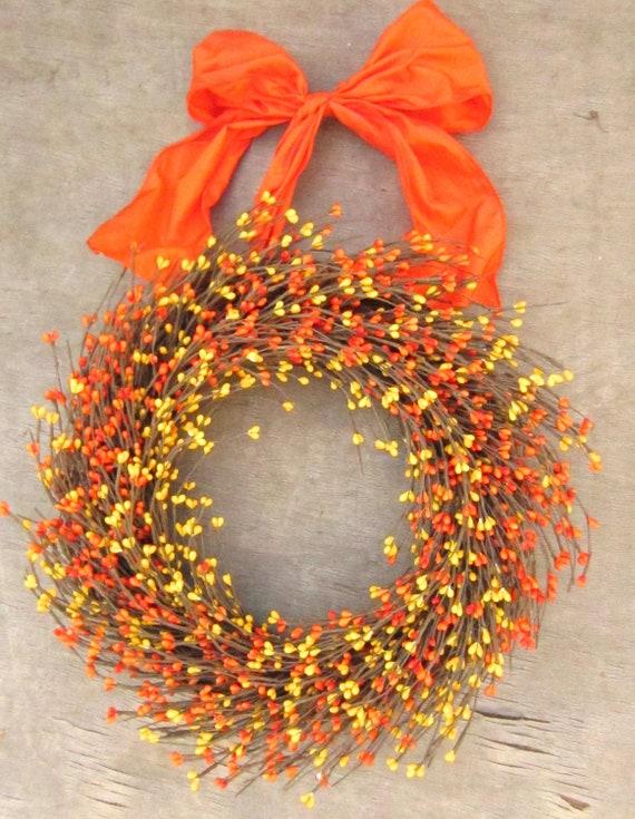Orange Yellow Fall Wreath - Front Door Decor - Fall Autumn wreath