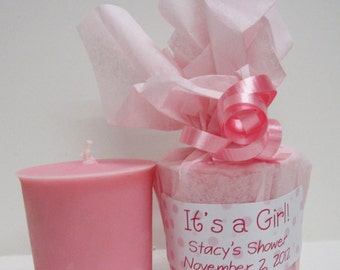 Baby Shower Favors - 10 Baby Powder Scented Soy Votives - It's a Girl