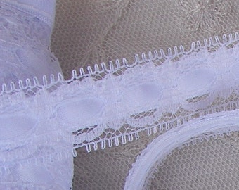 3 yards WHITE  Insert Lace Satin Ribbon Trim Bridal  Pageant Baby Christening Scrapbooking