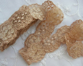 STRETCH LACE 3 yds GOLD Tan Holiday Lingerie Headband Camisole Clothing Altered Couture Designs