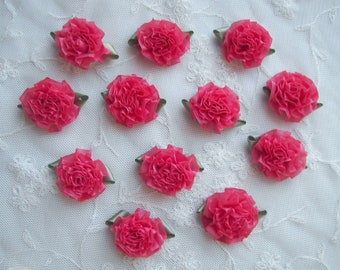 18pc CORAL Fabric Flower Applique Bow Satin Ribbon Bridal Craft Carnation Cabbage Rose