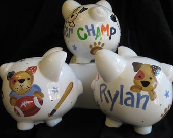 piggy bank hand painted personalized bow wow dog sports