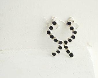 Jet Black Bubble Earrings, 1st Anniversary Gift Paper Jewelry, Sterling Silver Minimalist Dangle Sterling Silver Jewelry, Wearable Art....