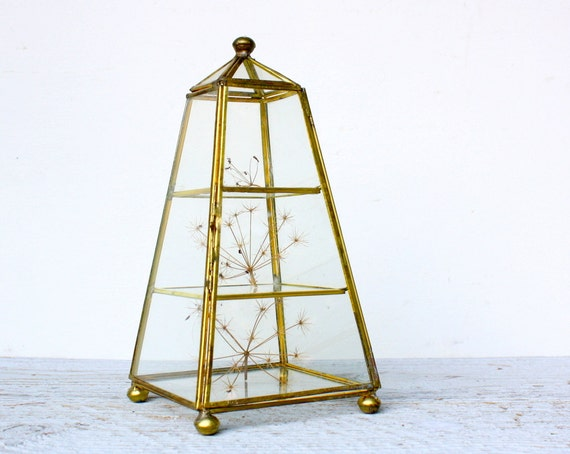 Vintage Pyramid Brass and Glass Display Case