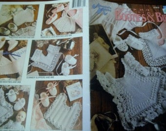 Baby Thread Crochet Patterns Antique Crochet Booties and Bibs Annie's Attic 87B78 Crocheting Pattern Leaflet