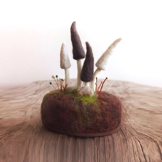 Pincushion Gnome Mushrooms in Grey - Nature Home Decor Wool Sculpture Made To Order