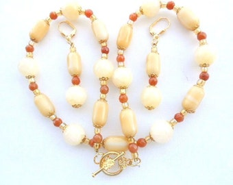 Red Agate & Golden Aragonite Necklace Earrings with Amber and Gold Flower Caps