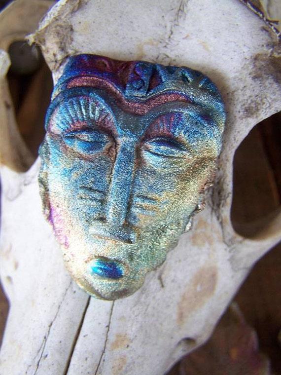 African Savanah   Mask... Raku Cabochon