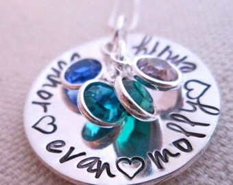 Hand stamped Necklace-  Personalized Mother's Necklace - grandmother jewelry
