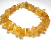 """Full 7"""" Strand -  Citrine Fancy centre Drilled Hammered Nuggets - Size -8-14mm"""