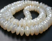 """Very Unique- White  Color  Chalcedony   Cotted  Germon  Cut  Rondelles- 4""""-rf1"""