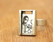 Girl with kitten- Slider Ring-sterling silver