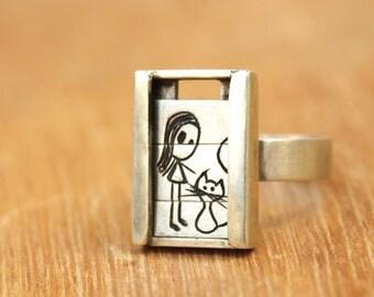 Girl with kitten- Slider Ring-sterling silver