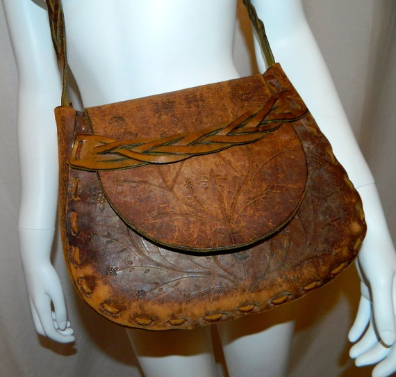 vintage 1970s purse tooled leather HIPPIE shoulder bag