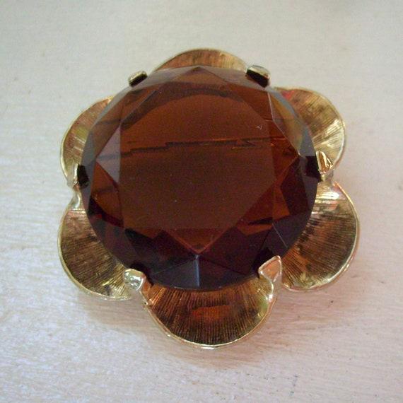 Vintage Accessocraft Fall Halloween rhinestone flower brooch or pin gold tone brown topaz