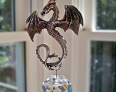 """Dragon Suncatcher, Red and Black Swarovski Crystal and Pewter Dragon Suncatcher, """"DOVAHKIIN""""-7.5"""" or 10.5"""" Long- For the Dragonborn Among Us"""