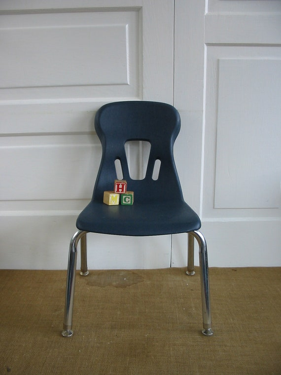 Vintage Children Chair Furniture Navy Blue Boy Girl Mod Retro School