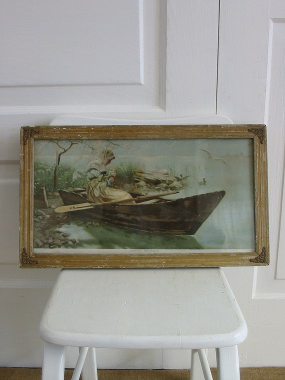 Antique Art Framed Print Victorian Girl Woman Canoe Boat
