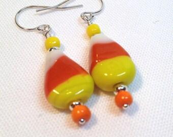 Candy Corn Lampwork Glass Earrings