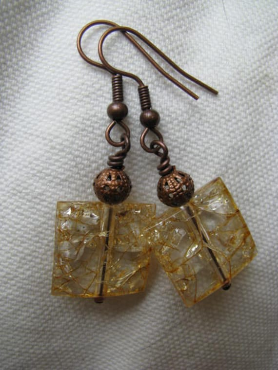 Yellow Crackle and Antique Copper Earrings