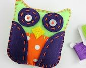 Halloween Mini Owl Plush Softie Toy Felt Orange Purple Neon Green