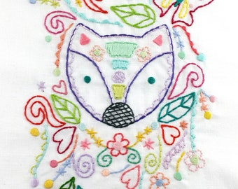 Forest Fox Hand Embroidery PDF Pattern