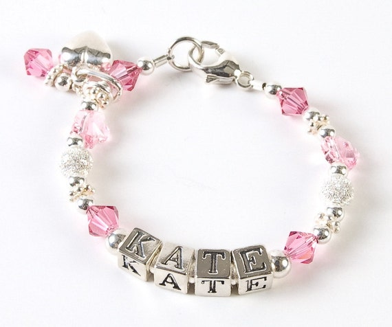 Items similar to Personalized Baby Girl Child Bracelet ...   Personalized Baby Jewelry For Girls
