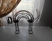 Vintage Iron Metal Arched Back Black Cat Double Candle Holder for Halloween