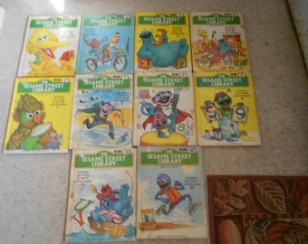 1978 The Sesame Street Library Set of 10 Books Letters and Numbers