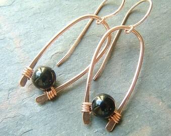 Copper Hoop Earrings Inverted Hoops Modern Hoop Black Obsidian eco friendly Womens copper jewelry