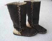 Brown leather suede boots size 8 1/2 fur lining